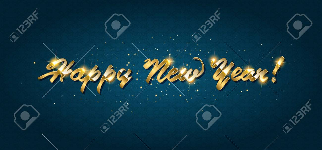 Gold Happy New Year Greeting Text On Dark Background Luxury