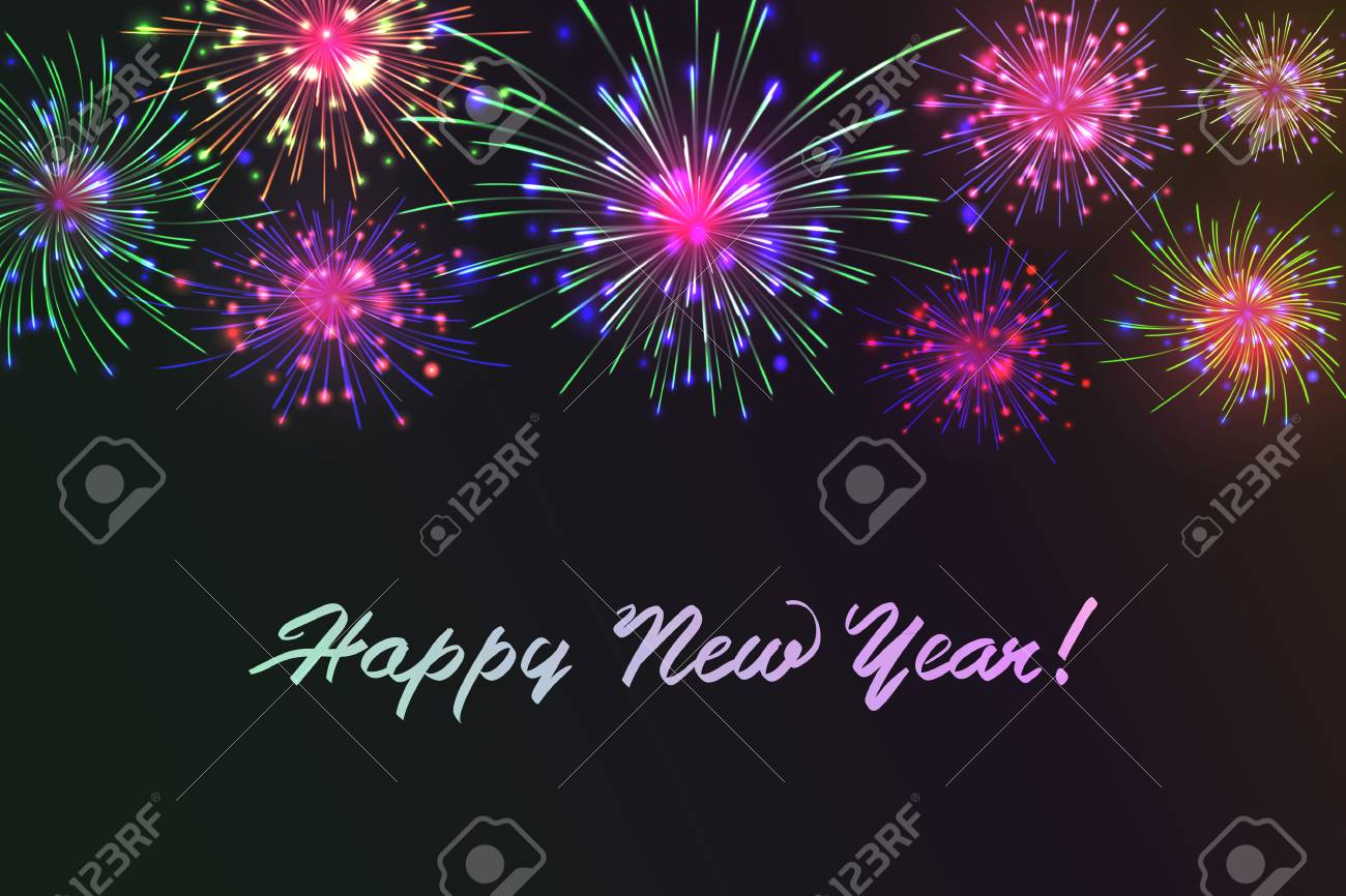 Happy new year season greetings with colorful fireworks design happy new year season greetings with colorful fireworks design stock vector 88129619 m4hsunfo