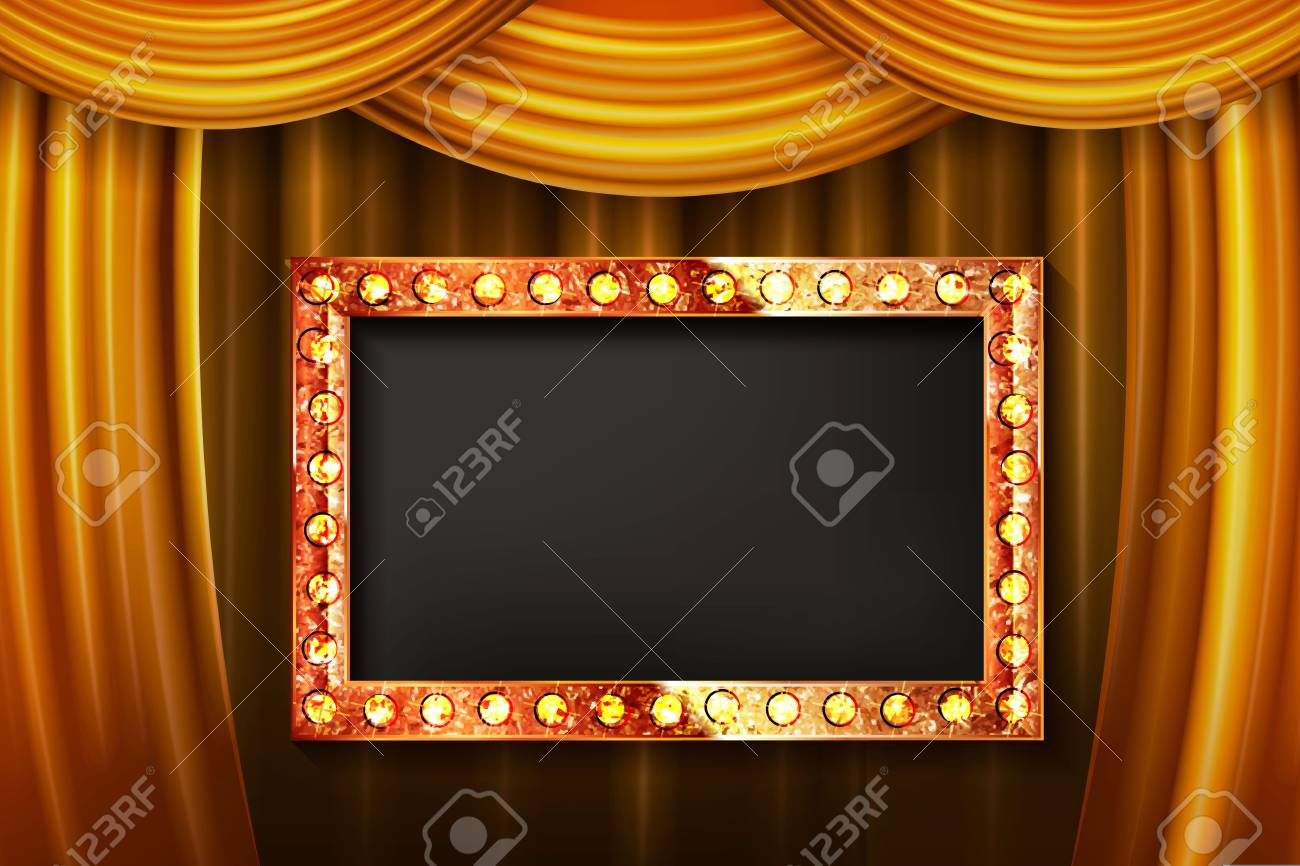 Gold Frame With Light Bulbs On The Background Of The Stage With ...