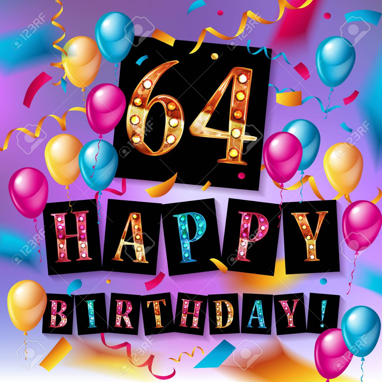 64th happy birthday poster template vector illustration royalty free