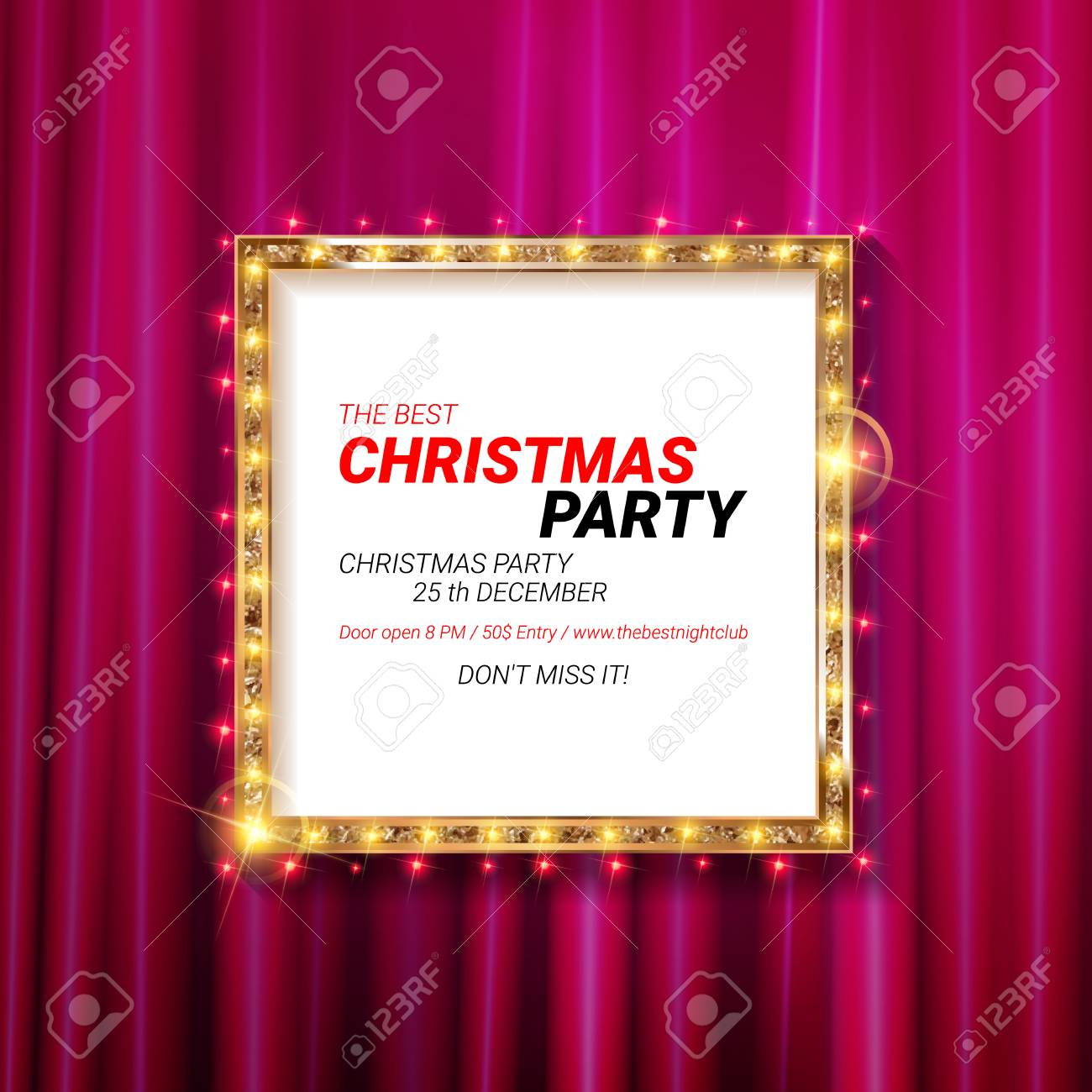 Christmas Party 2019 Clipart.Invitation Merry Christmas Party 2019 Poster Banner And Card