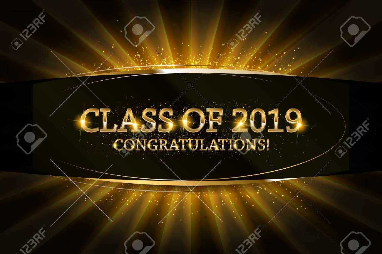 Class of 2019 Congratulations Graduates gold text with golden ribbons on dark background. - 117794844