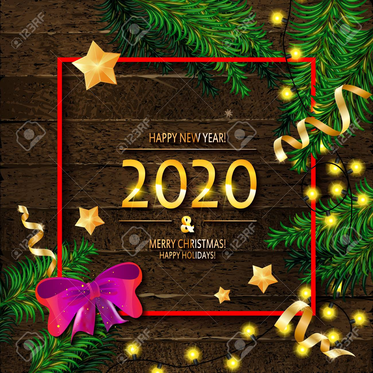 Red Frames 2020 Christmas Picture Frames 2020 Happy New Year And Merry Christmas Frame With Snow And Real