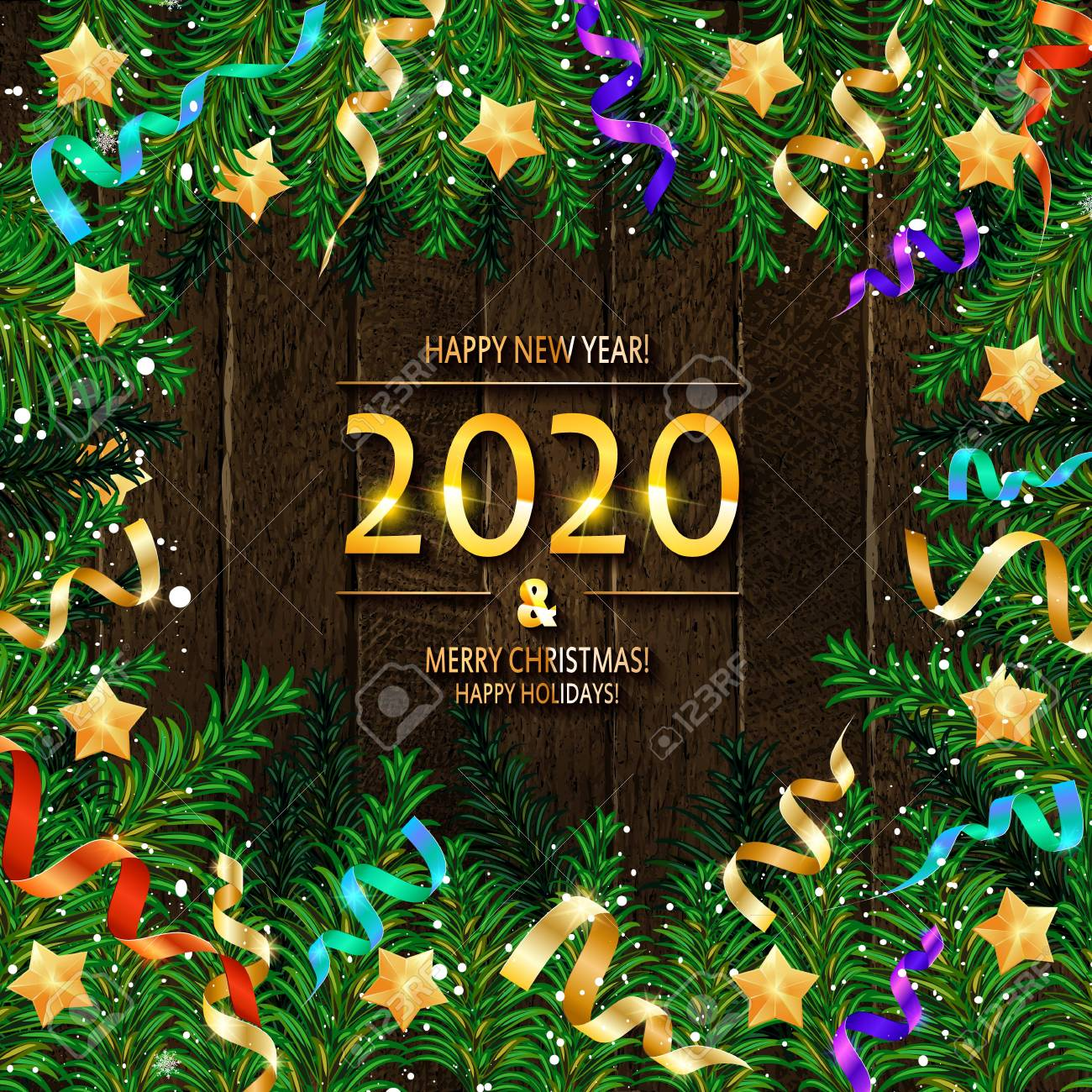 Christmas 2020.2020 Happy New Year And Merry Christmas Frame With Snow And Real