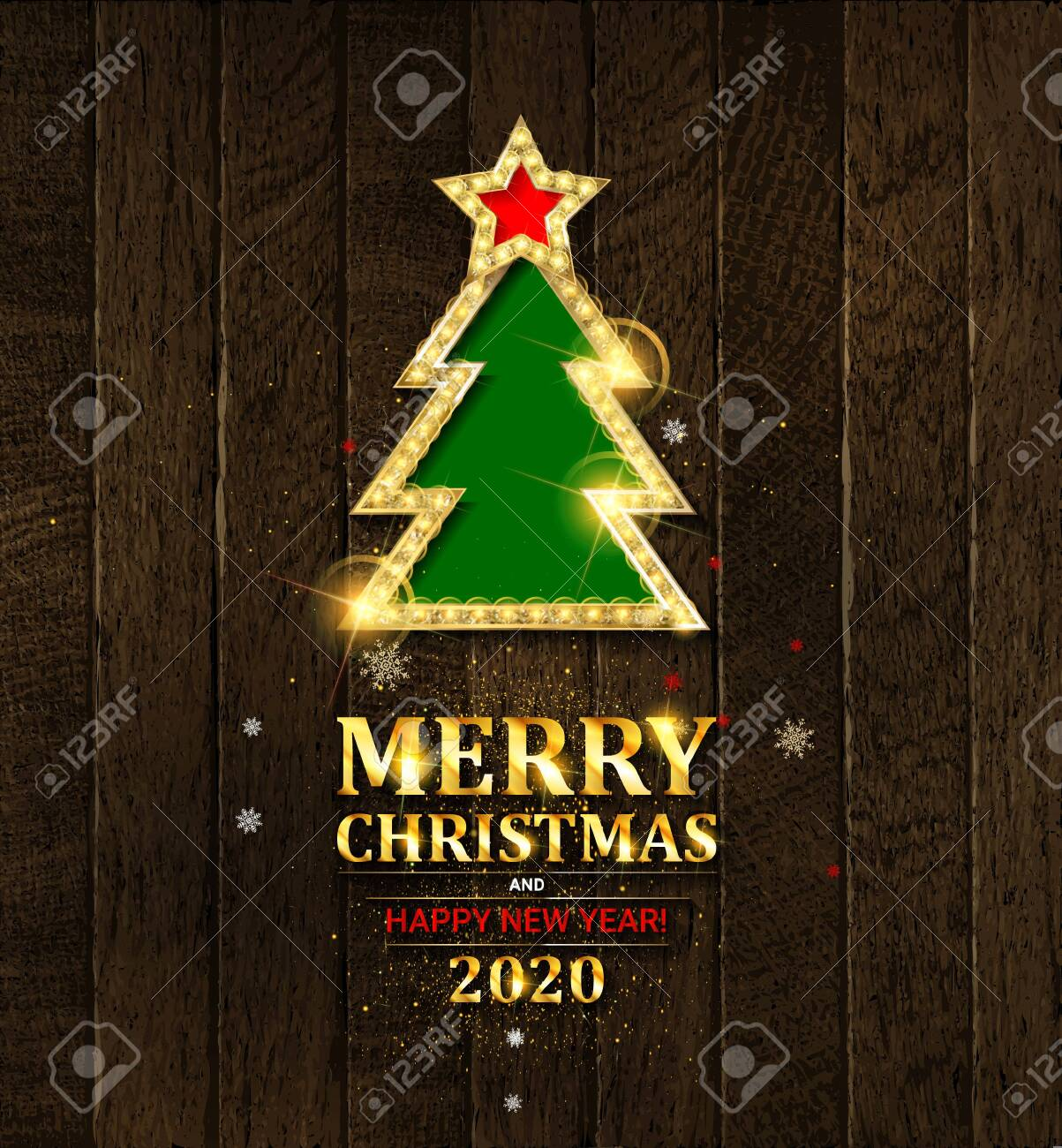 Fancy Christmas Party 2020 Merry Christmas And Happy New Year 2020 Fancy Gold Xmas Tree