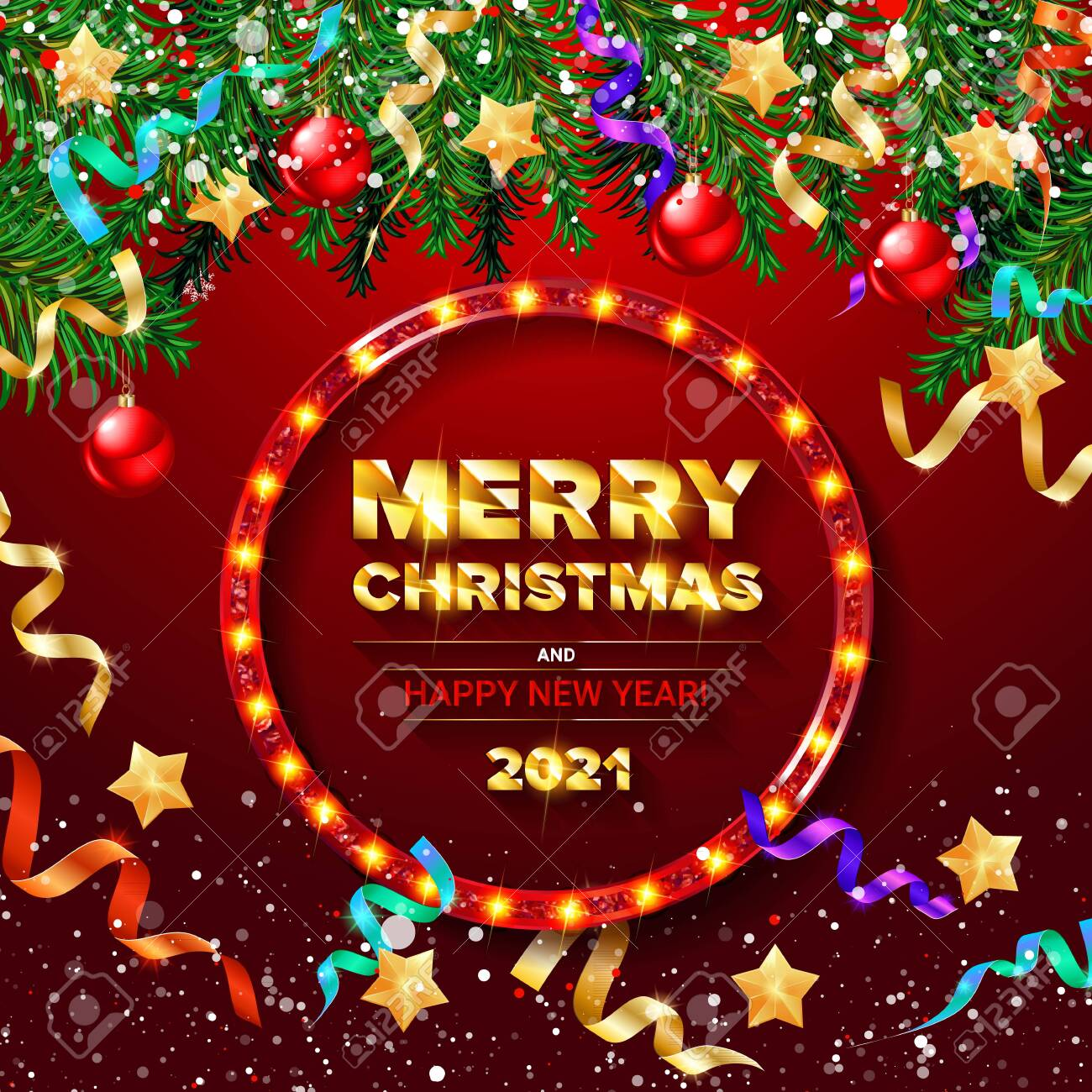 Free Christmas Pictures 2021 Red Greeting Card With Christmas And New Year 2021 Beautiful Royalty Free Cliparts Vectors And Stock Illustration Image 145448202