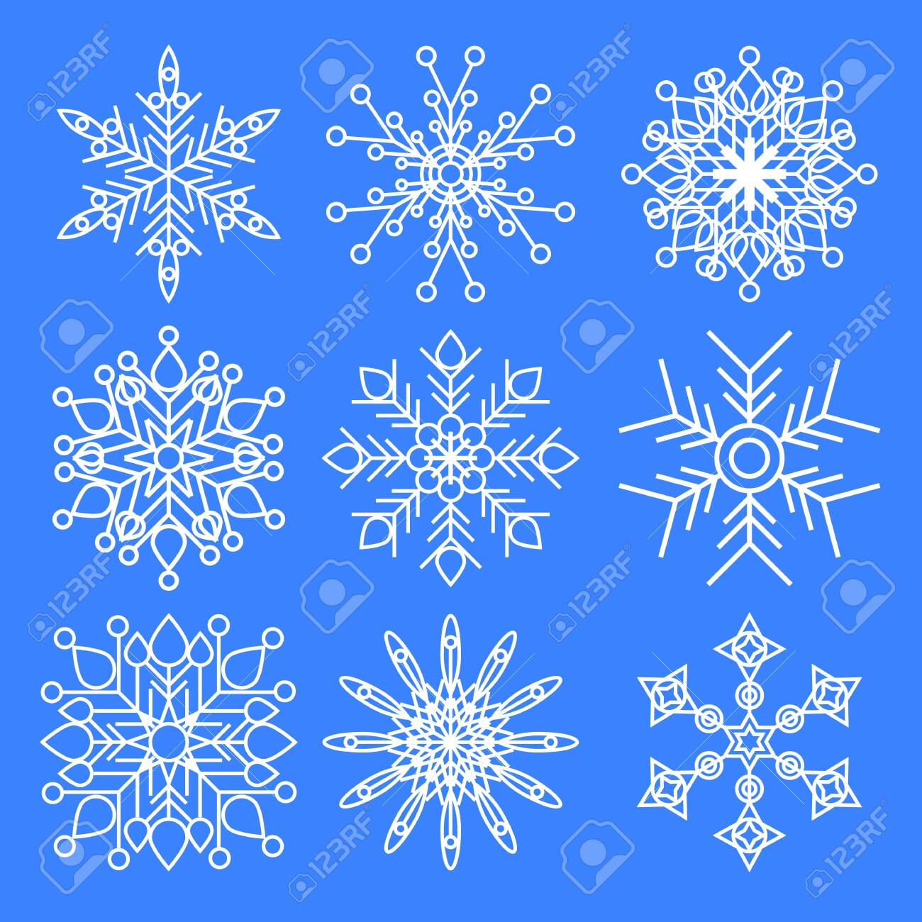 Set of Christmas snowflakes isolated on blue background - 137763946