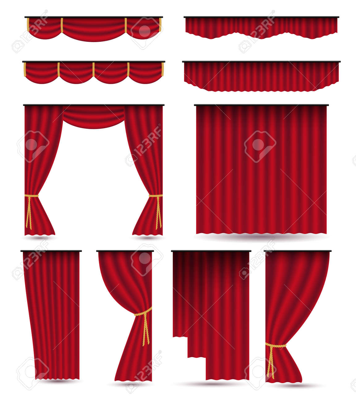 Set of red luxury silk velvet curtains and draperies.Realistic interior decoration design. Illustration isolated on white background.Raster version.Clipart - 152749412