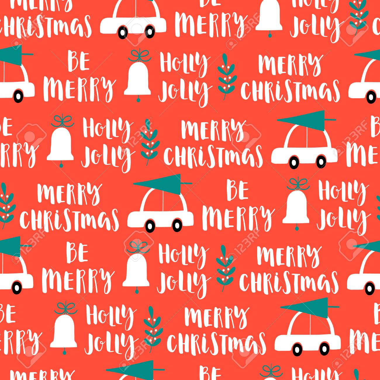 Christmas Words That Start With A.Vector Christmas Words Seamless Pattern On Red Background