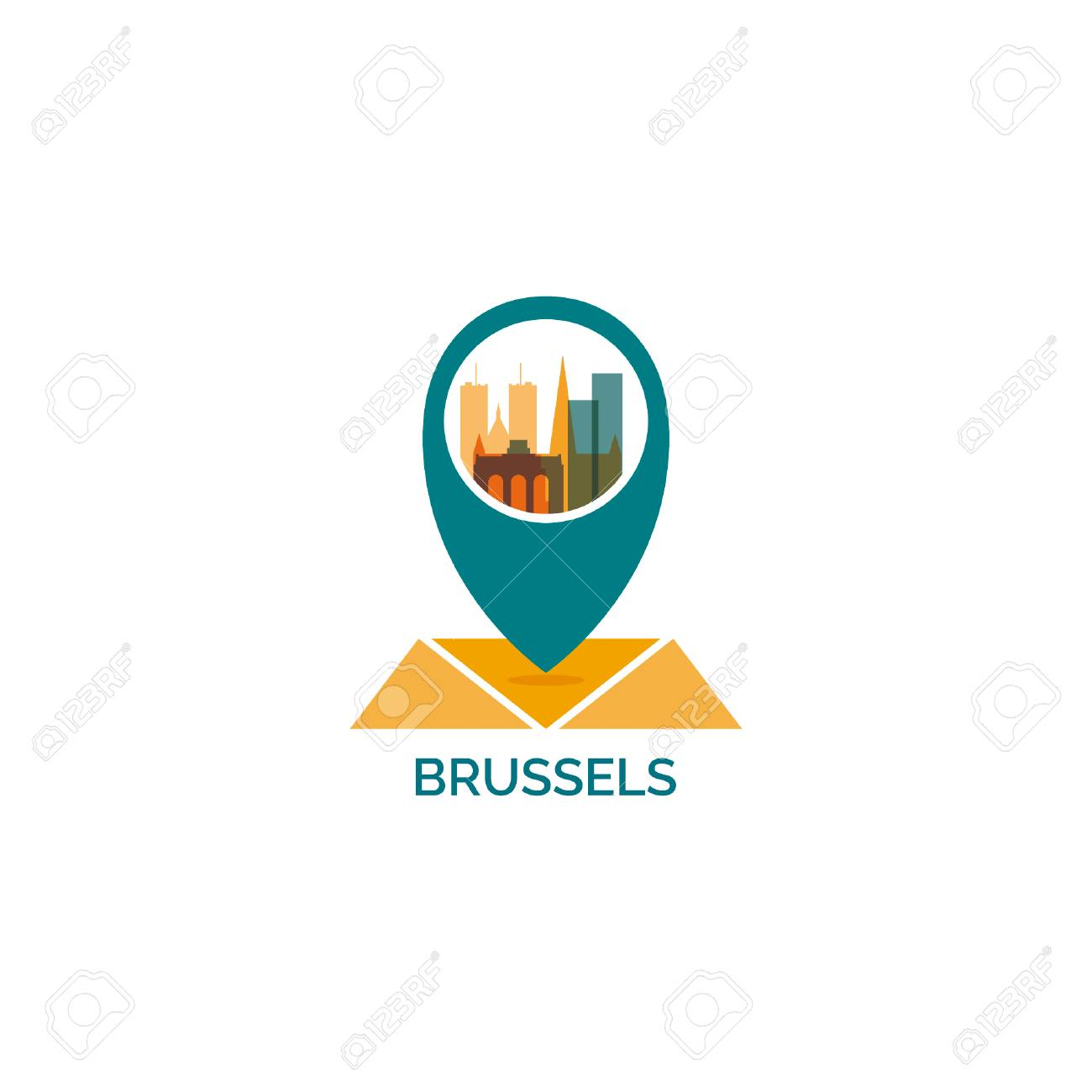 belgium brussels map pin point geolocation modern skyline shape vector icon illustration stock vector