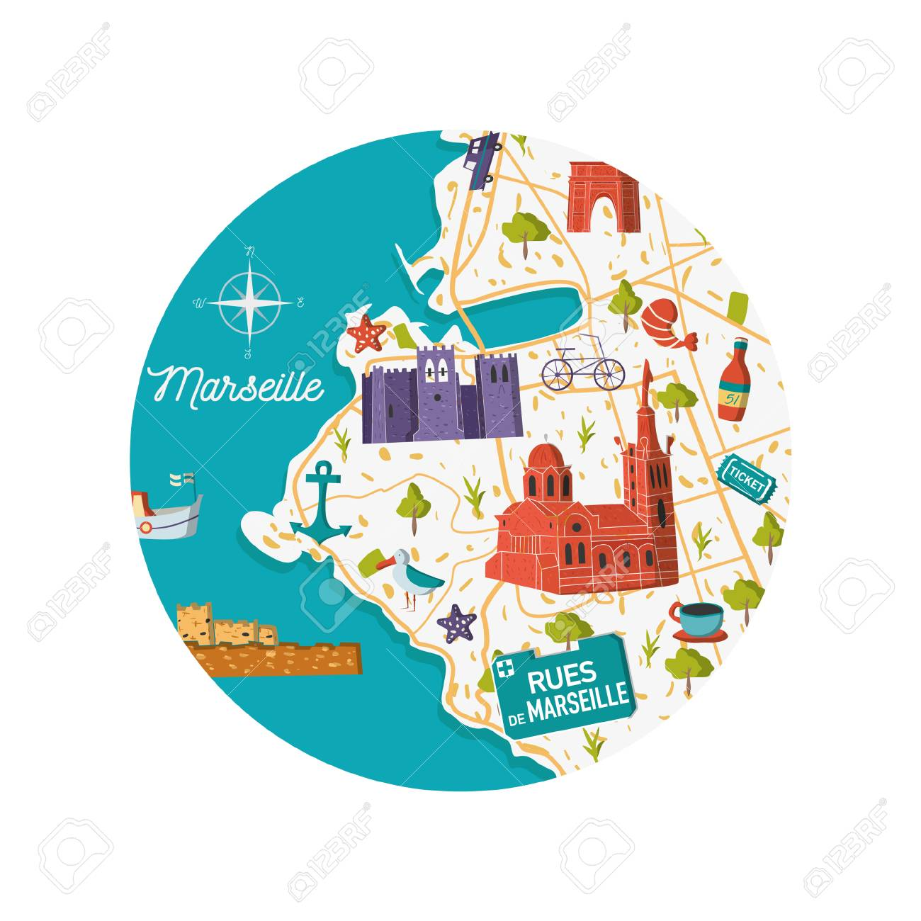 South Of France Cities Map.France Marseille Vector City Map Illustration Cartoon Sightseeing