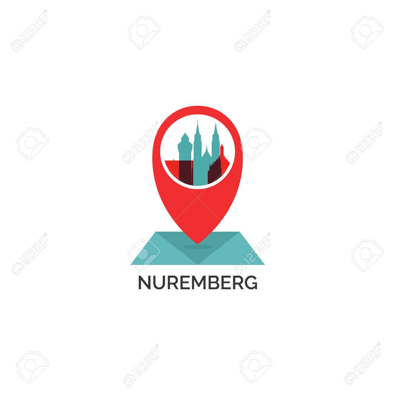 Nürnberg Karte Deutschland.Stock Photo
