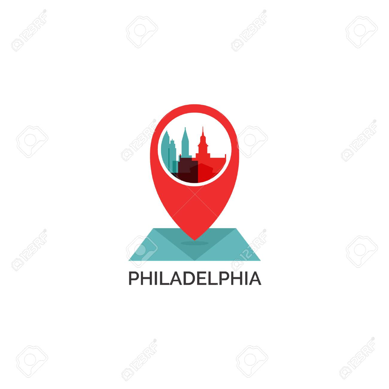 United States of America Philadelphia map city pin point geolocation..