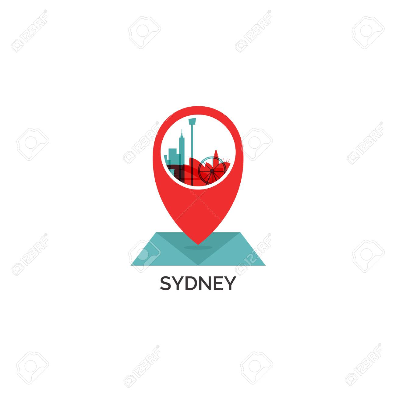 Map Of Australia Logo.Australia Sydney Map City Pin Point Geolocation Modern Skyline