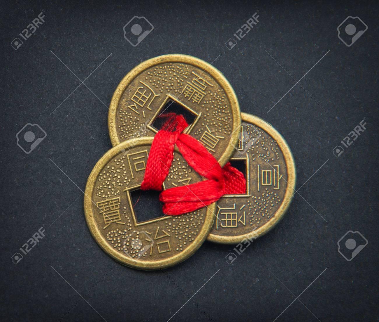 Chinesische Feng Shui Münzen Für Glück Und Erfolg Lizenzfreie Fotos
