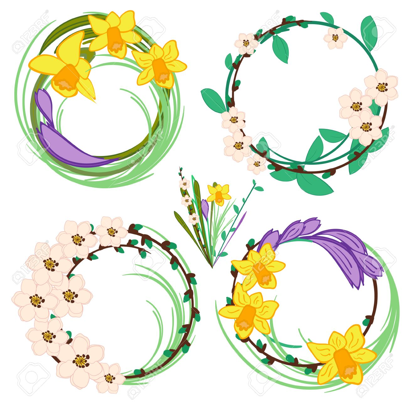 Set Of Spring Cartoon Vector Flowers Royalty Fri Clipart Vektorer