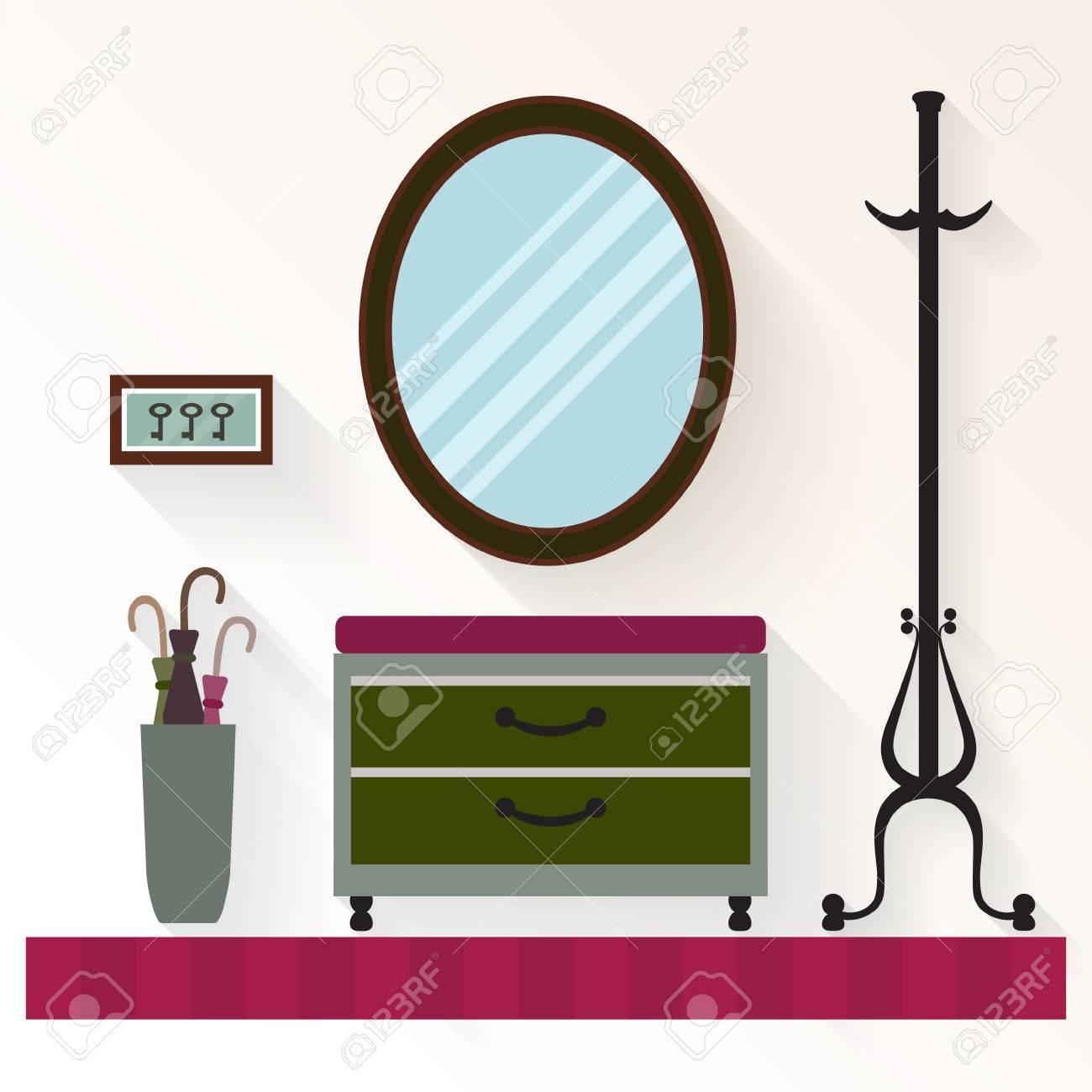 Innen Flur Mit Spiegel Und Kommode Flur Hauptinnenraum Mit Mobeln