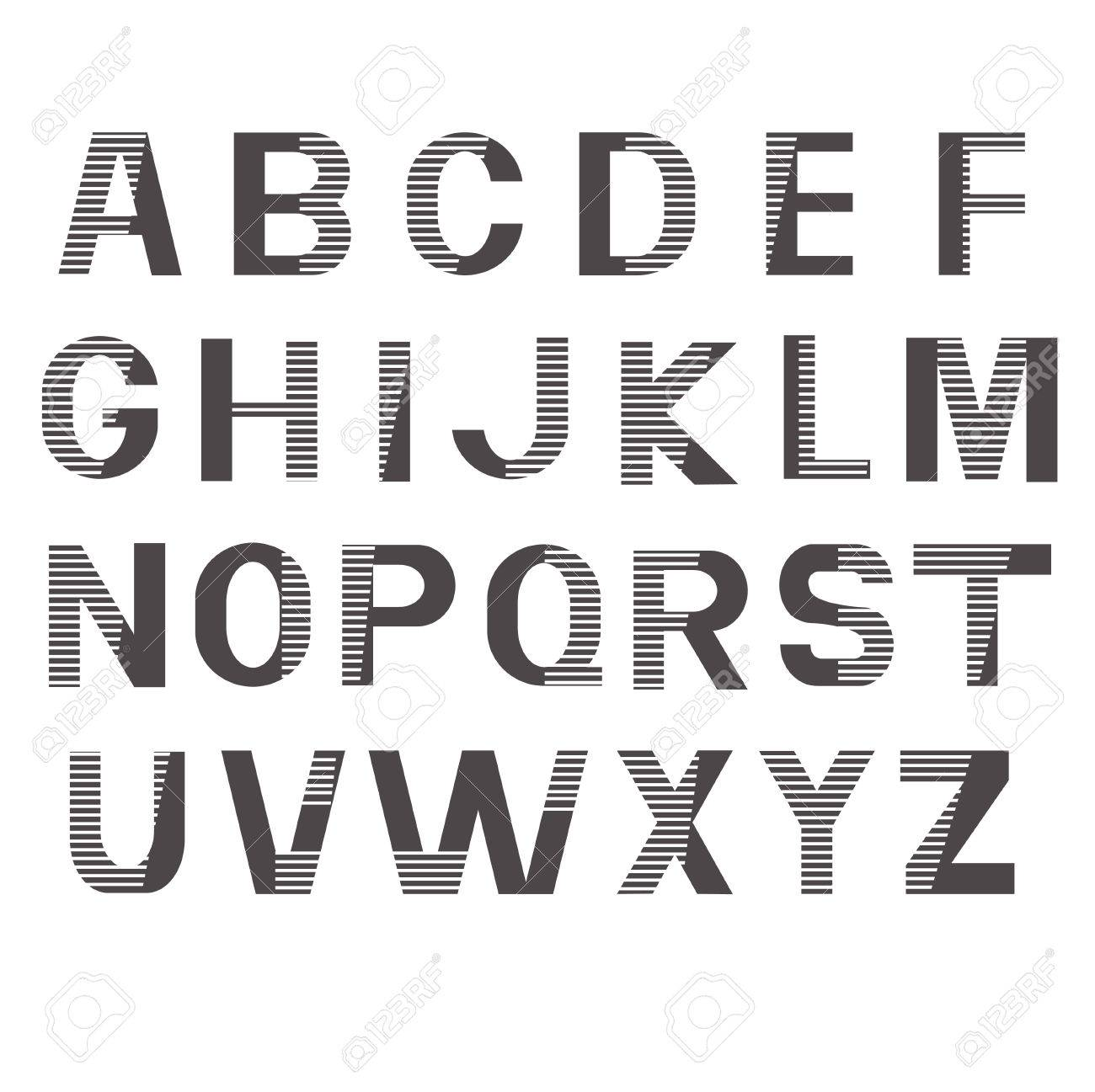 Alphabet fonts  Printed gray striped letters