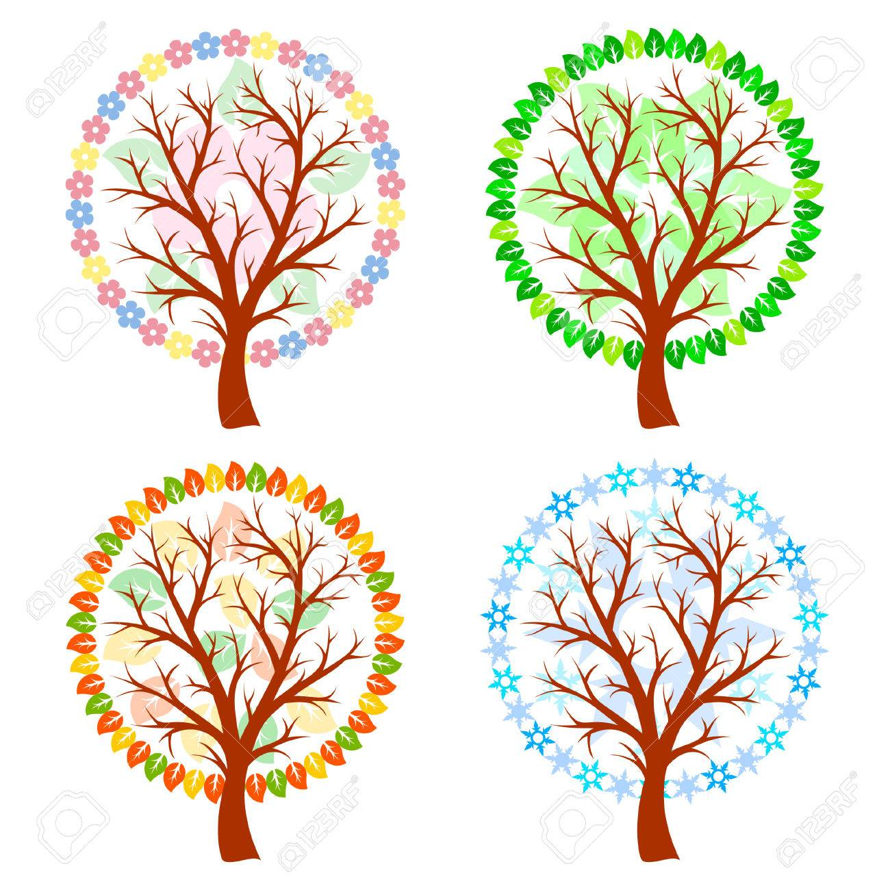 Abstract trees - four seasons Stock Vector - 6969116