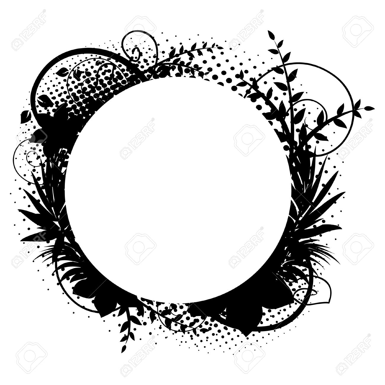 Floral Decorations circle frame with floral decorations 2 royalty free cliparts