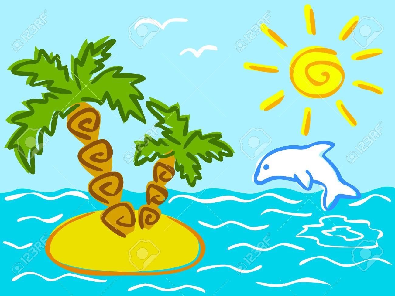Ilustración De Verano Y Las Vacaciones De Dibujos Animados ...