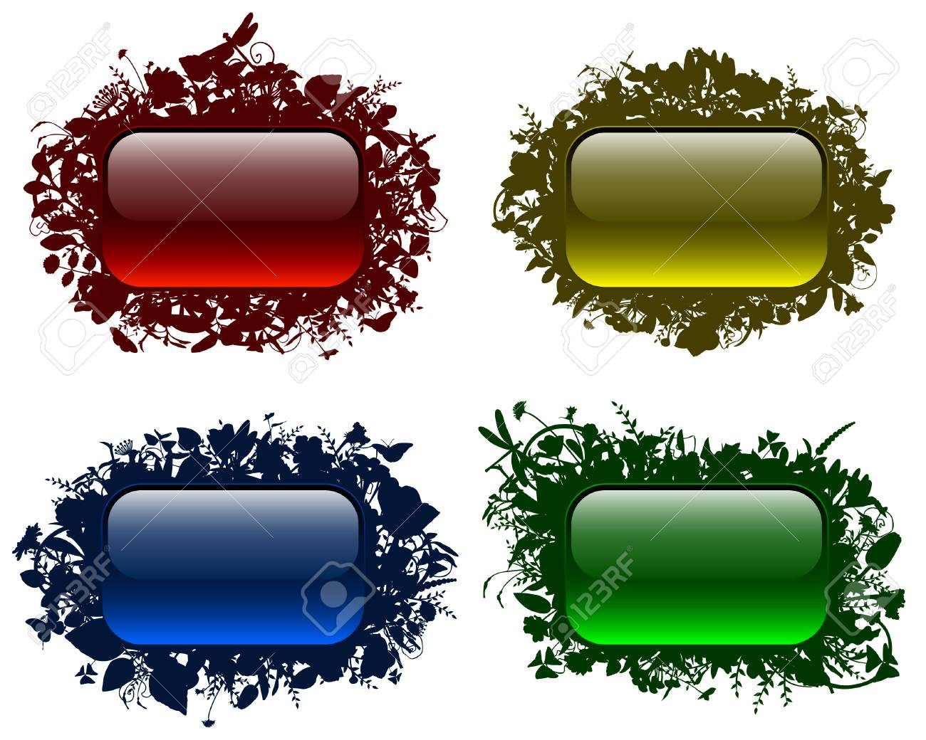 Glassy buttons in floral frames Stock Vector - 8600031
