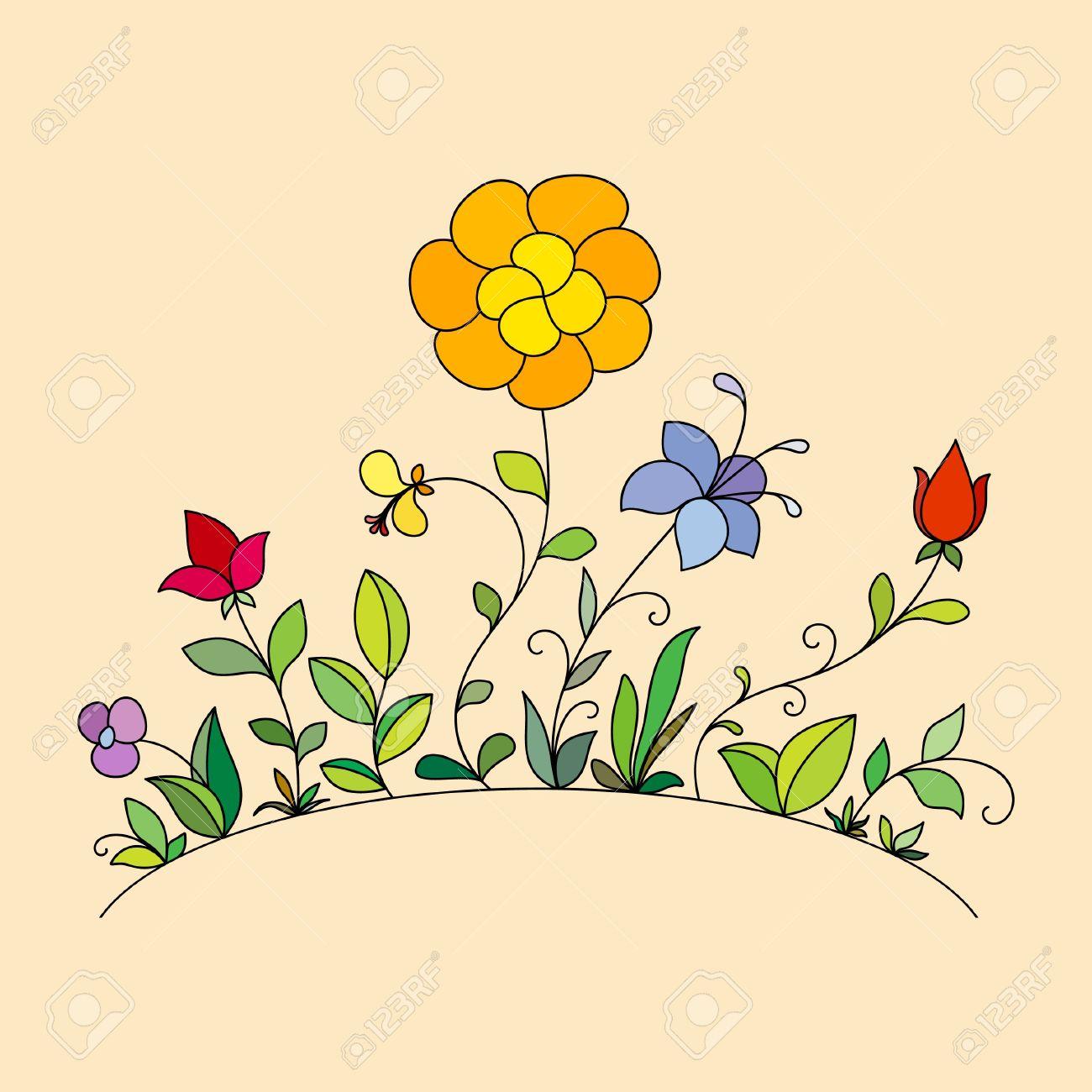 Banque d\u0027images , Fleurs dessinées à la main