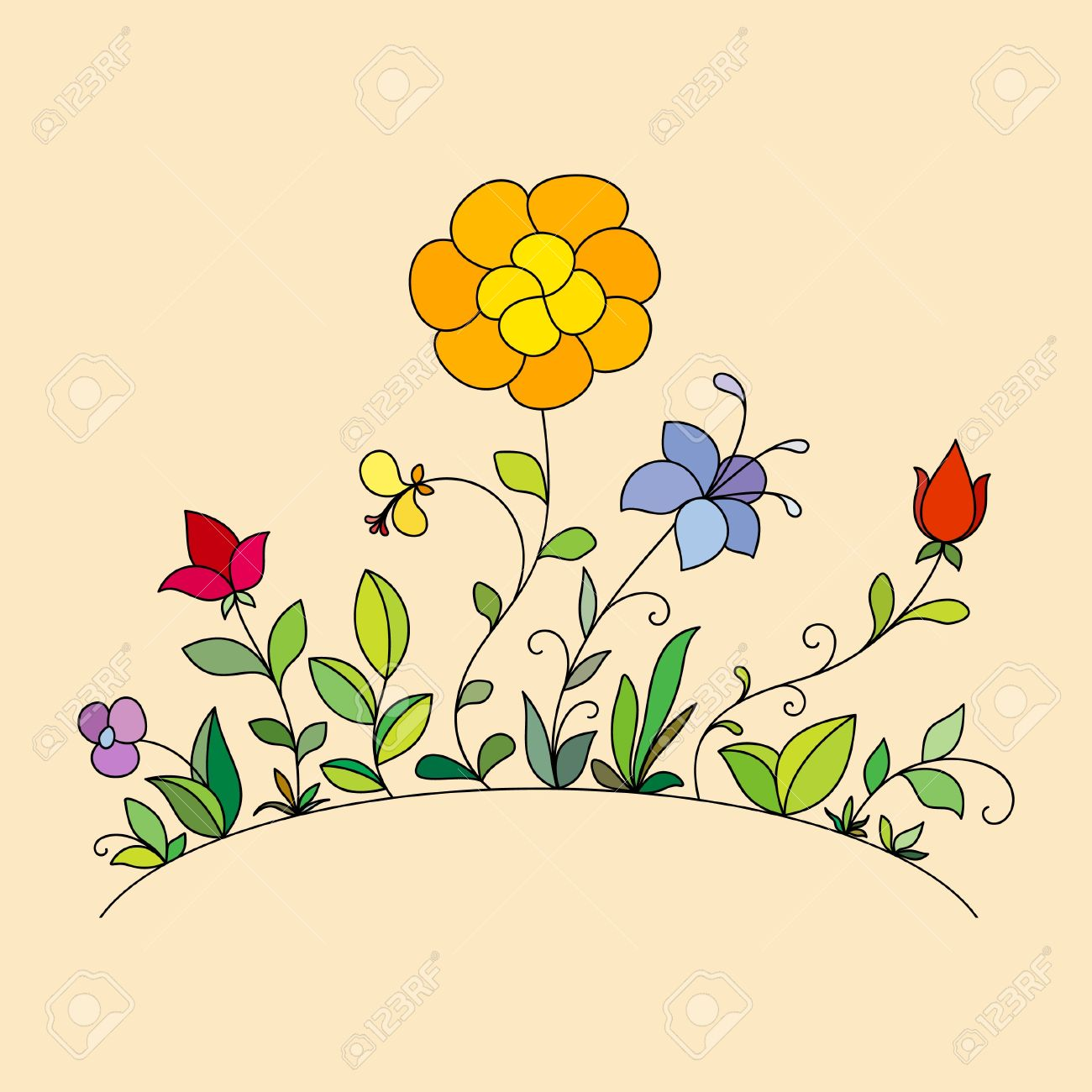 Hand drawn flowers Stock Vector - 13556599