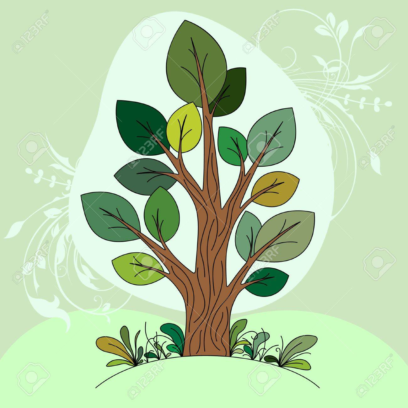 Hand Drawn Tree Color Royalty Free Cliparts, Vectors, And Stock ...