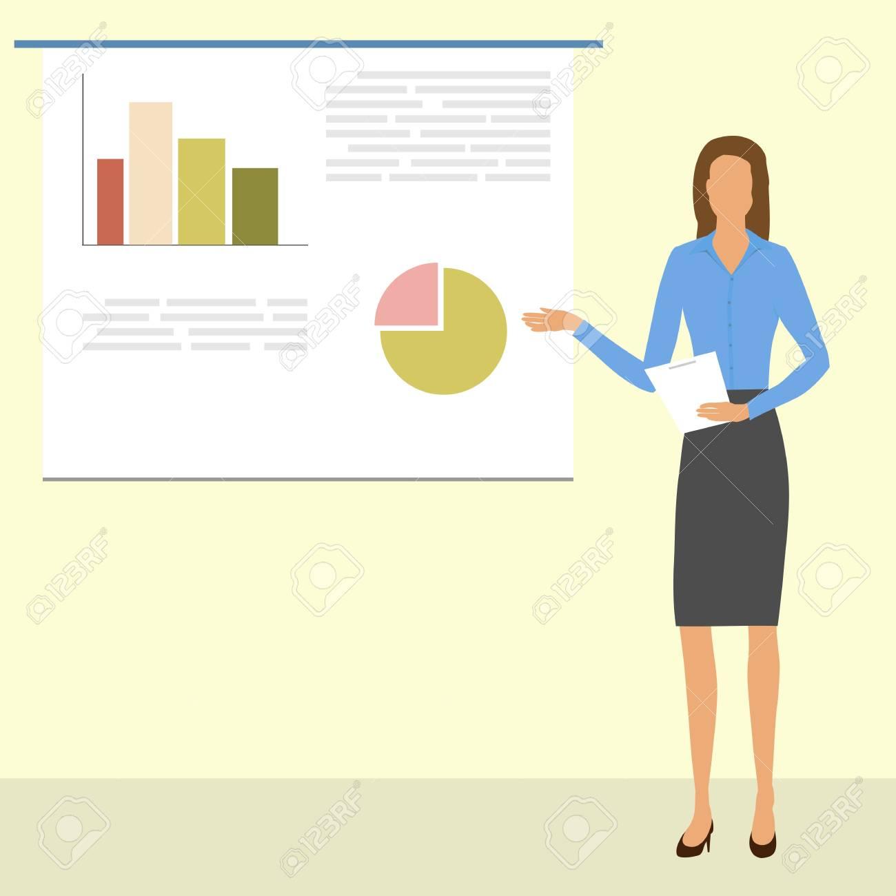 Mujer De Negocios Muestra Un Informe Con Gráficos Y Tablas En El ...