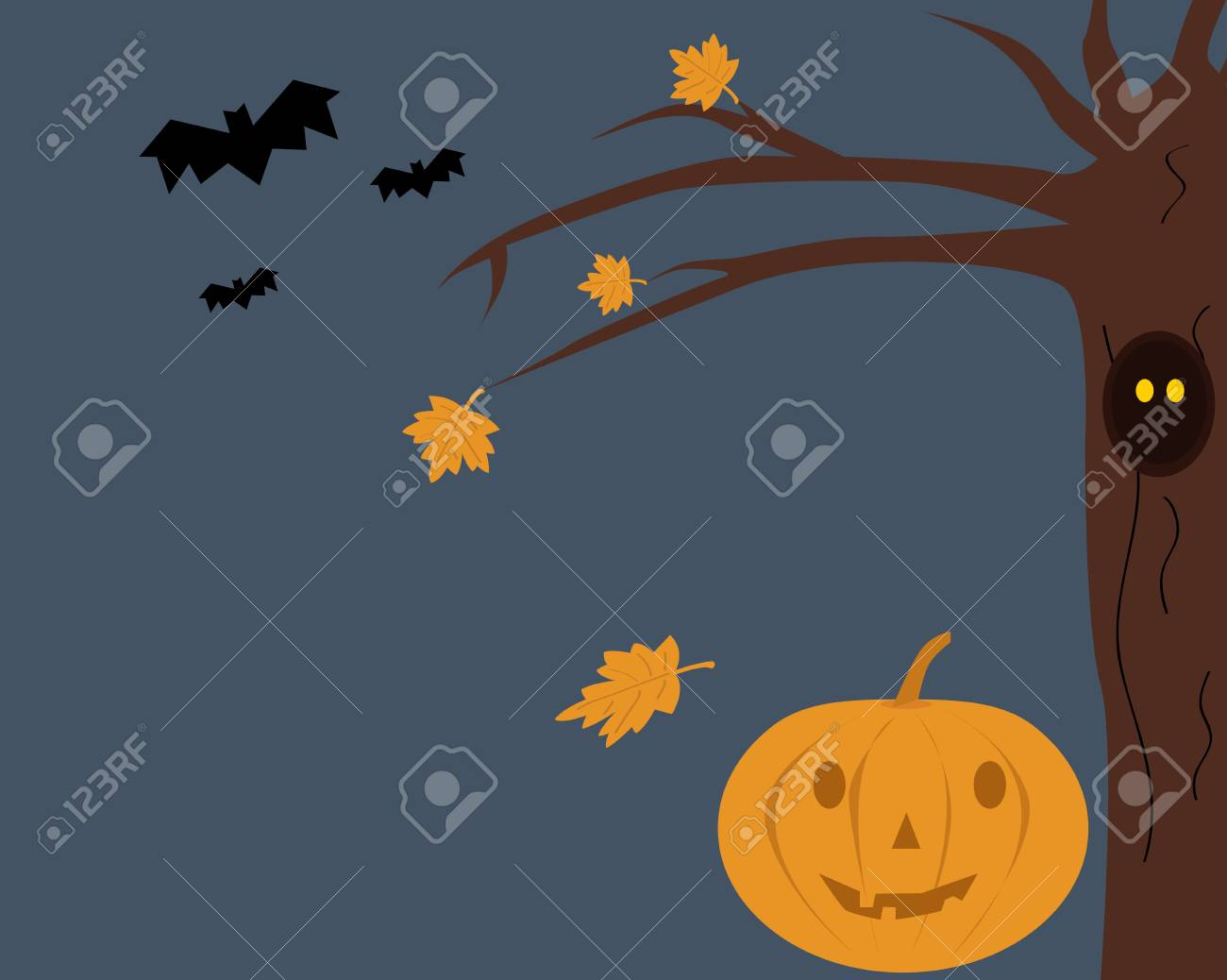 background with a hollow tree and Halloween pumpkins Stock Vector - 15792844
