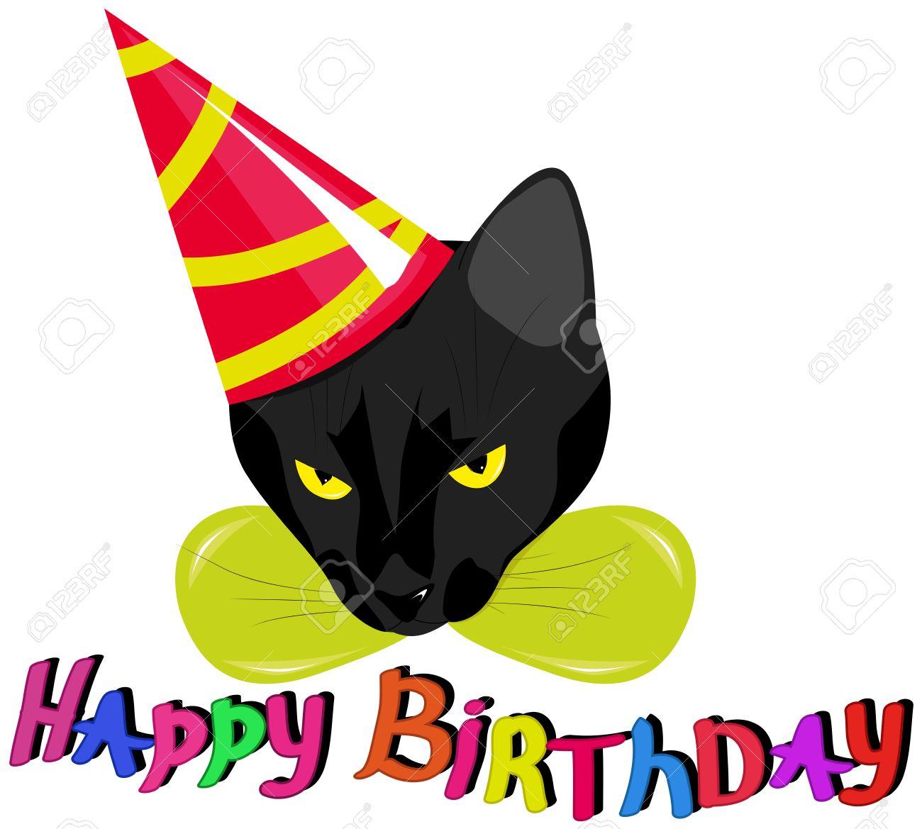 Un Chat Noir Dans Un Chapeau De Fête Avec Les Mots Joyeux Anniversaire