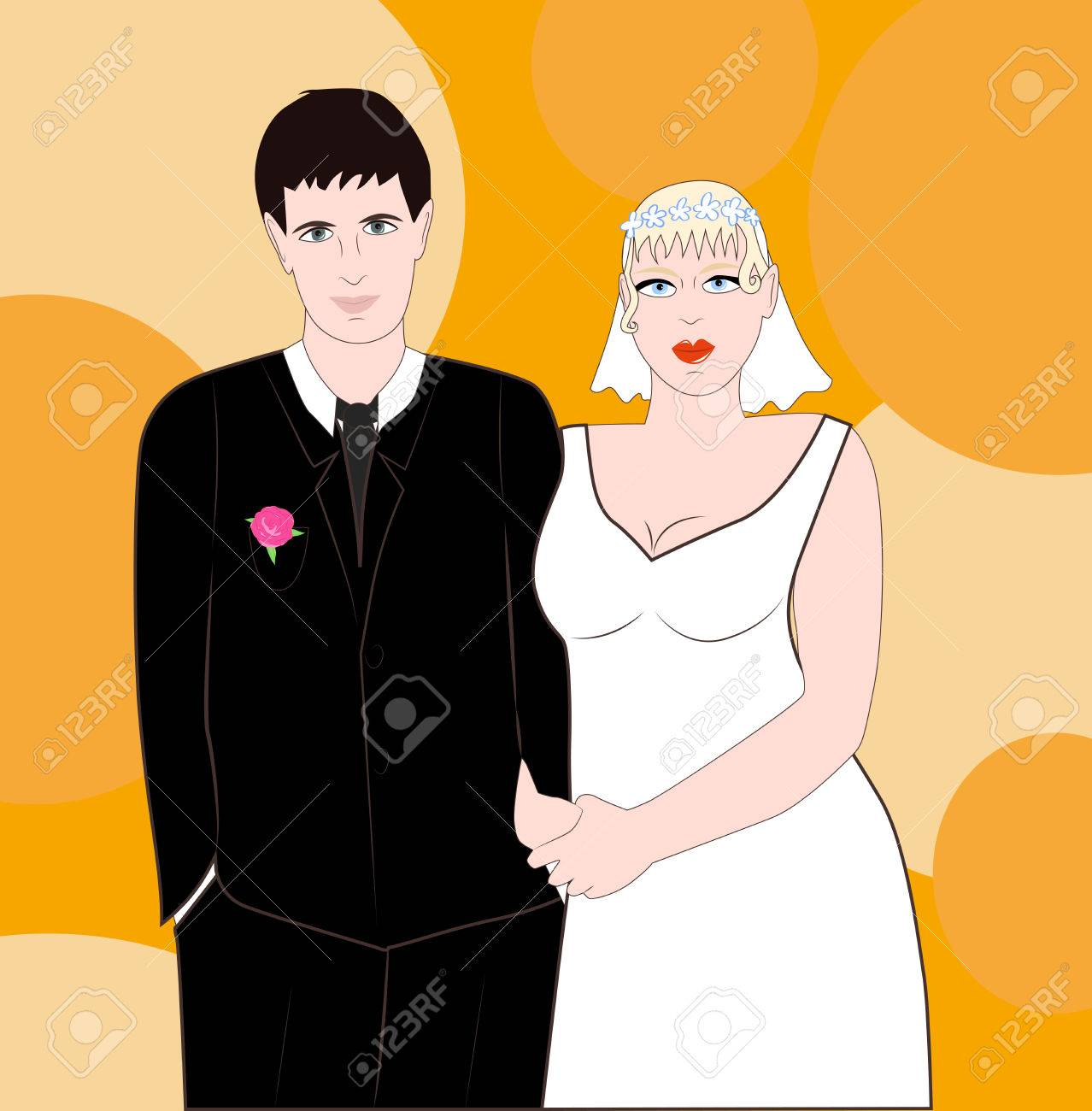 The Groom In A Suit And Chubby Bride In White Dress Royalty Free ...