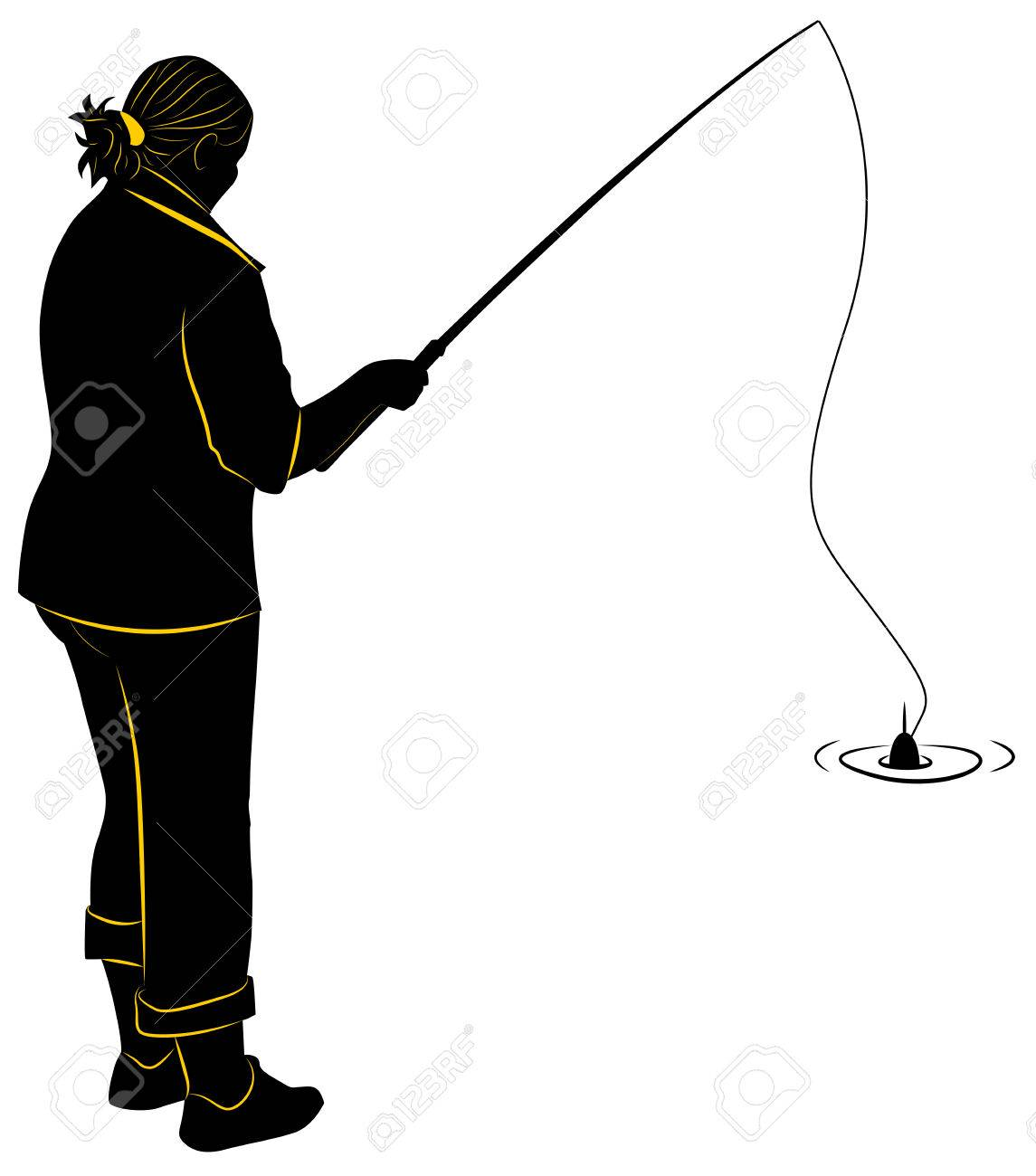 Silhouette Of The Girl With A Fishing Rod Royalty Free Cliparts Vectors And Stock Illustration Image 24687329