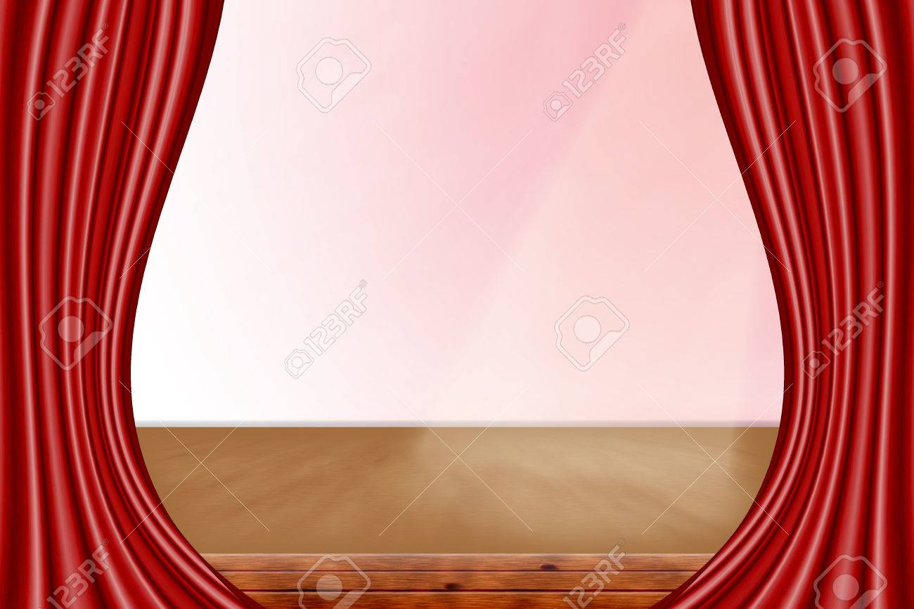 Red curtain spotlight - Stock Photo Theater Stage With Red Curtains And Spotlight