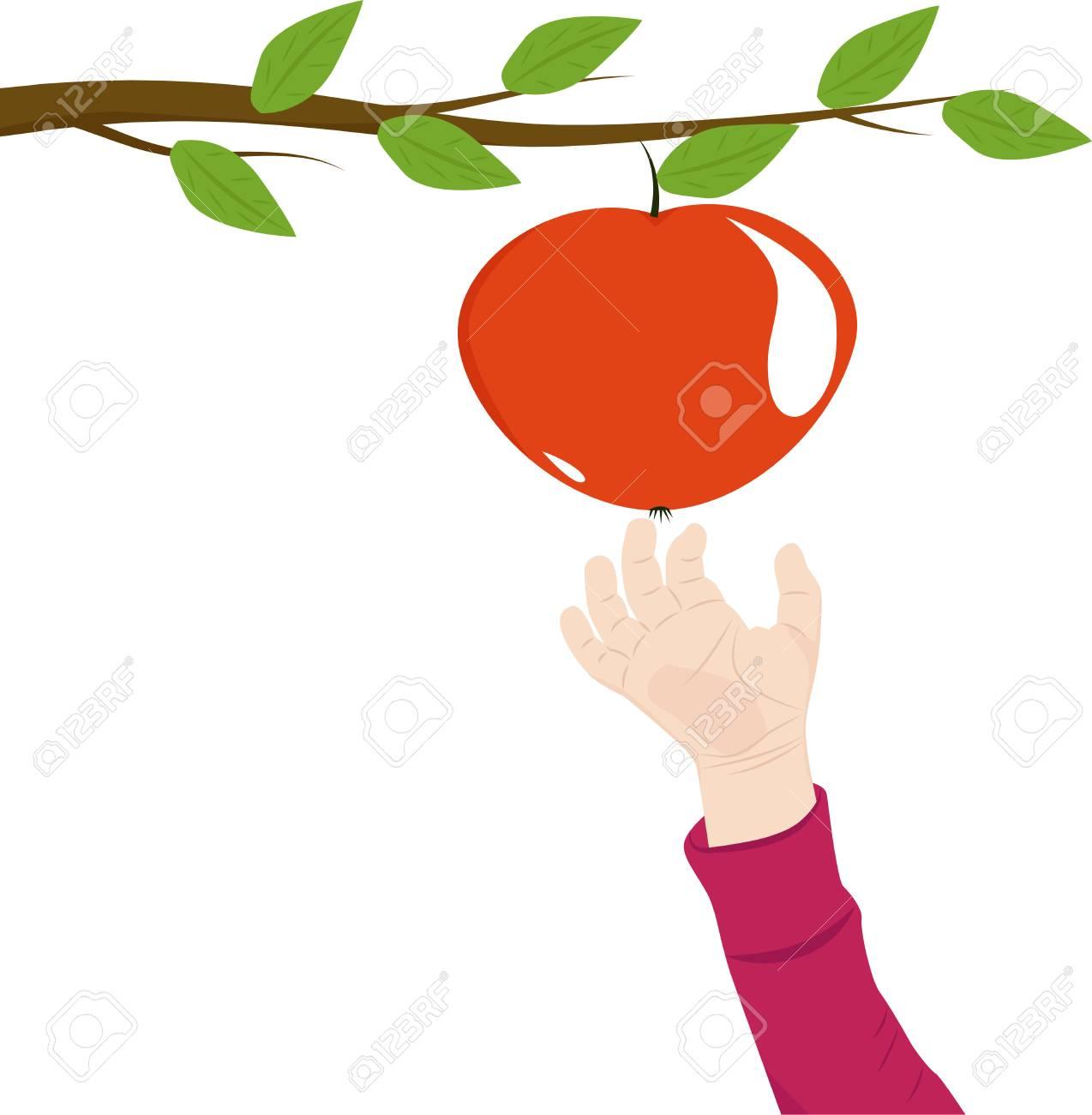 大きな赤い熟したリンゴベクトル図に手を伸ばす子供手のイラスト素材