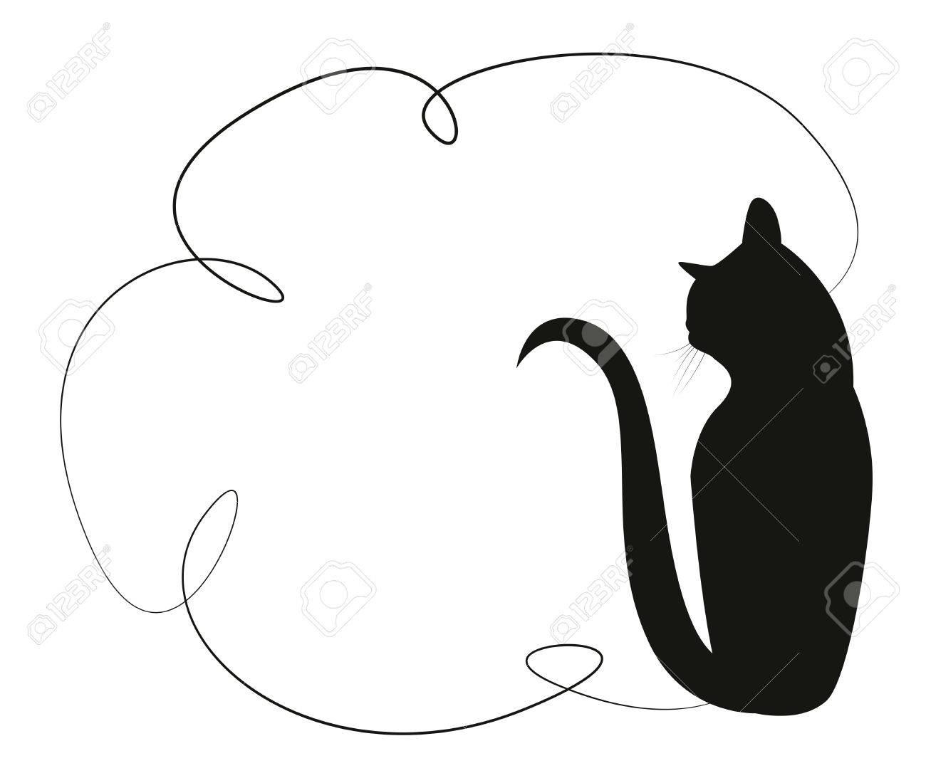 Marco Simple Con Un Gato Negro. Silueta De Un Gato Que Se Sienta En ...