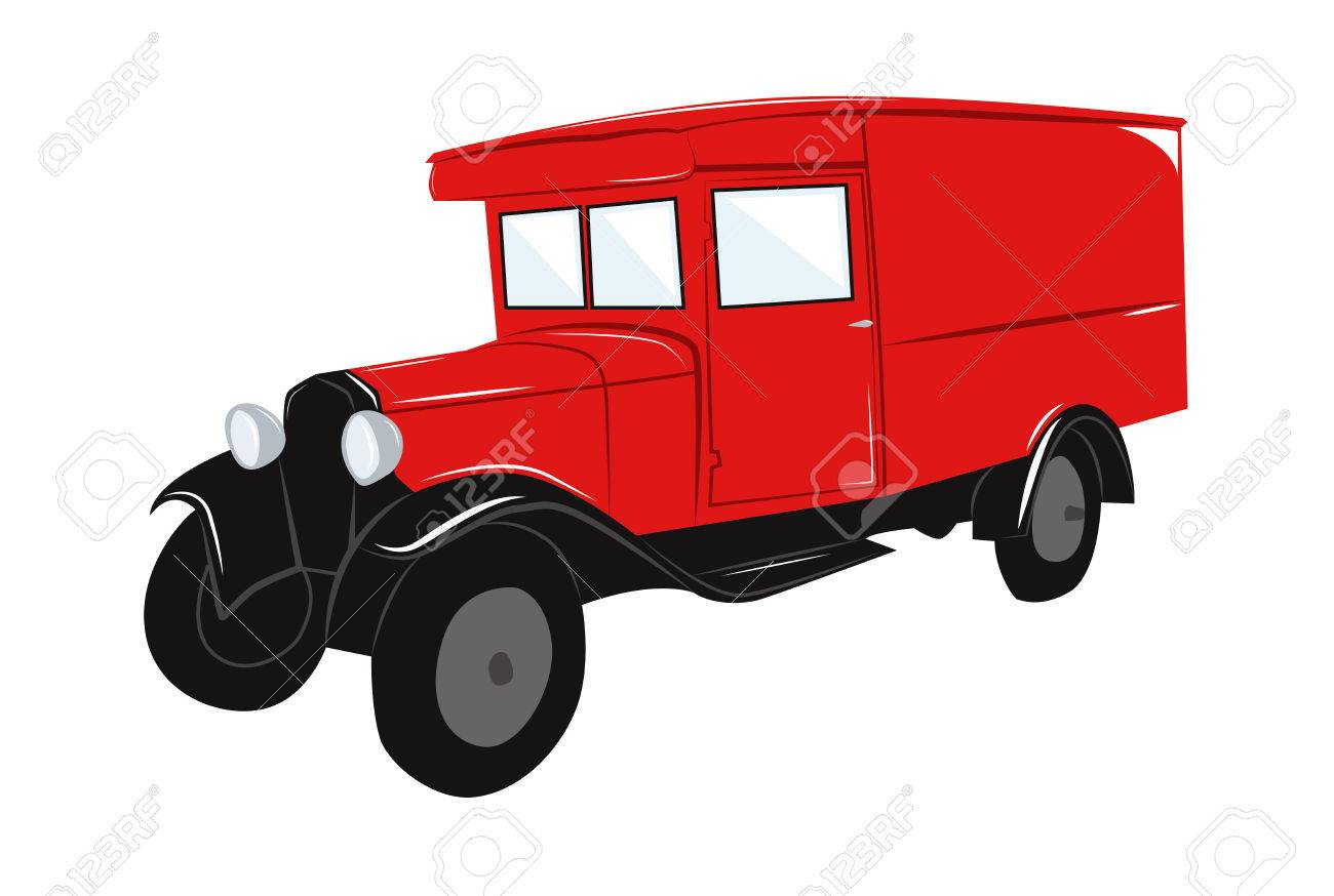 Red Old Retro Car Truck. Vector Illustration Royalty Free Cliparts ...