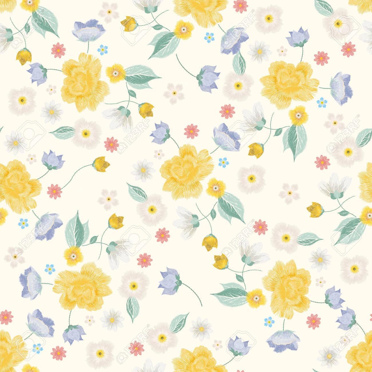 Bordado Colorido Simplificado étnico Floral De Patrones Sin Fisuras ...