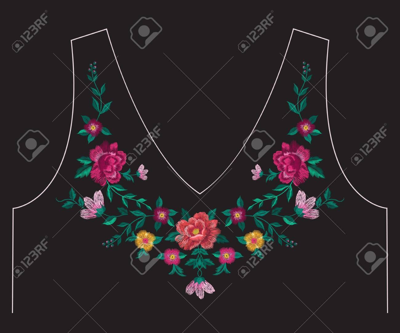 Bordado Colorido Simplificado étnica Línea De Cuello Patrón Floral ...