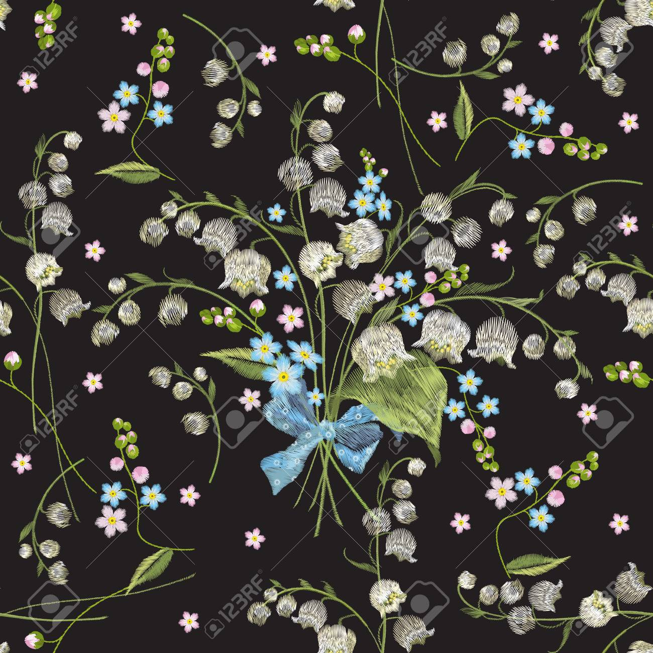 Embroidery Colorful Seamless Pattern With Lilies Of The Valley