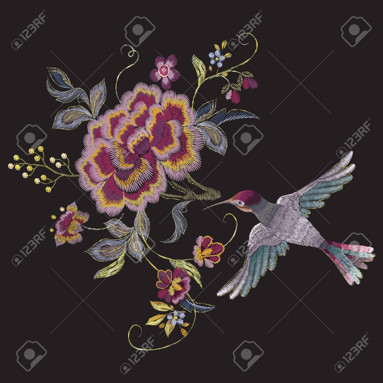 Bordado Patron Floral Oriental Con Aves Y Rosas Vector Etnico
