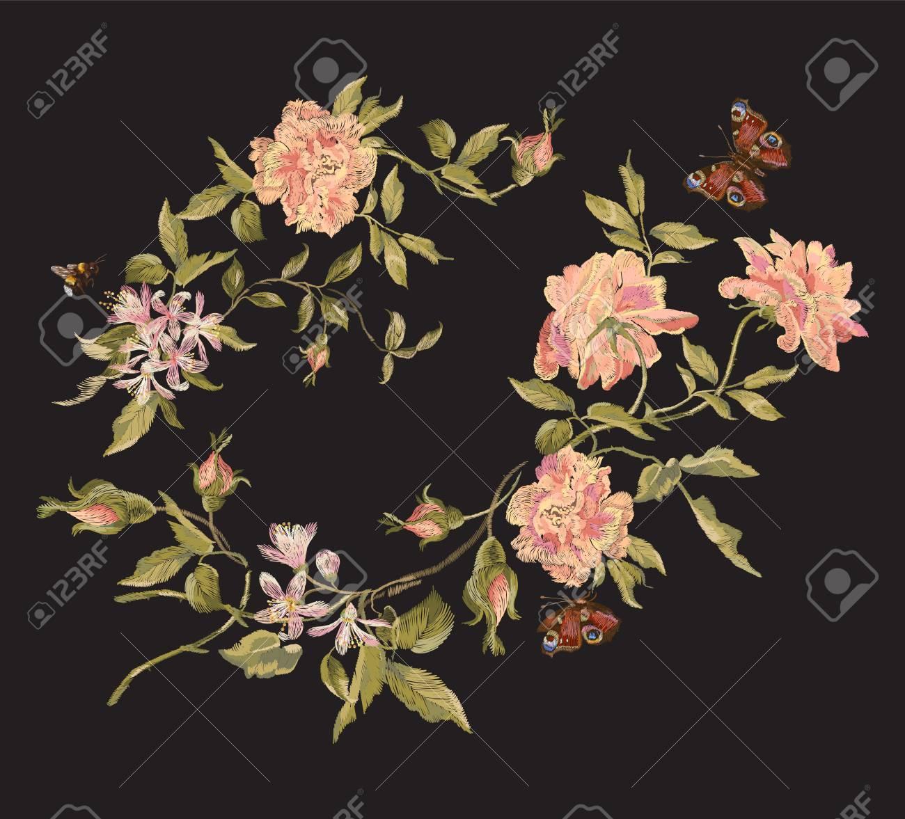 Patrón Floral Bordado De La Moda Con Peonías Salvajes Y Mariposas ...