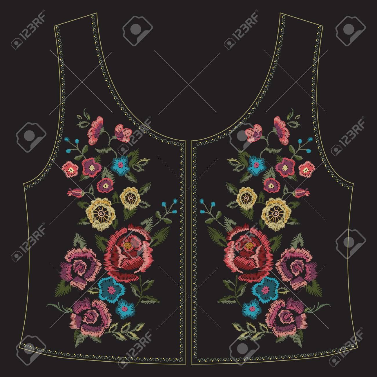Bordado Colorido Patrón Floral étnico Línea De Cuello Con Rosas ...