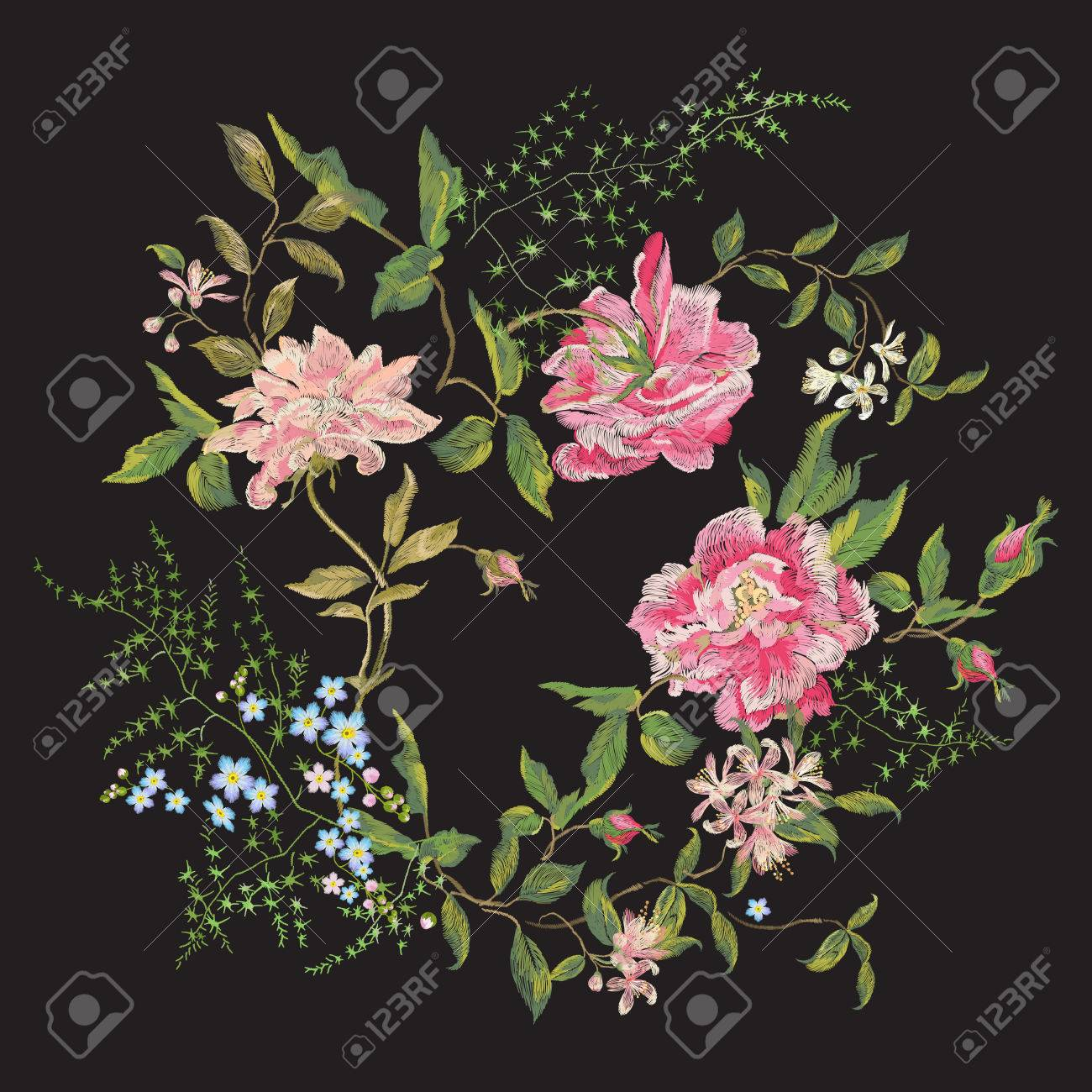 Embroidery Beautiful Floral Pattern With Roses Peony And Forget