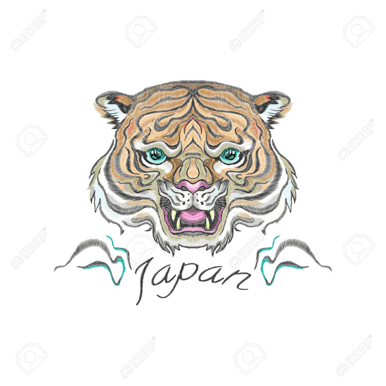 cfb895219 Embroidery oriental patch with tiger head. Vector embroidered floral  template for t shirt and fashion