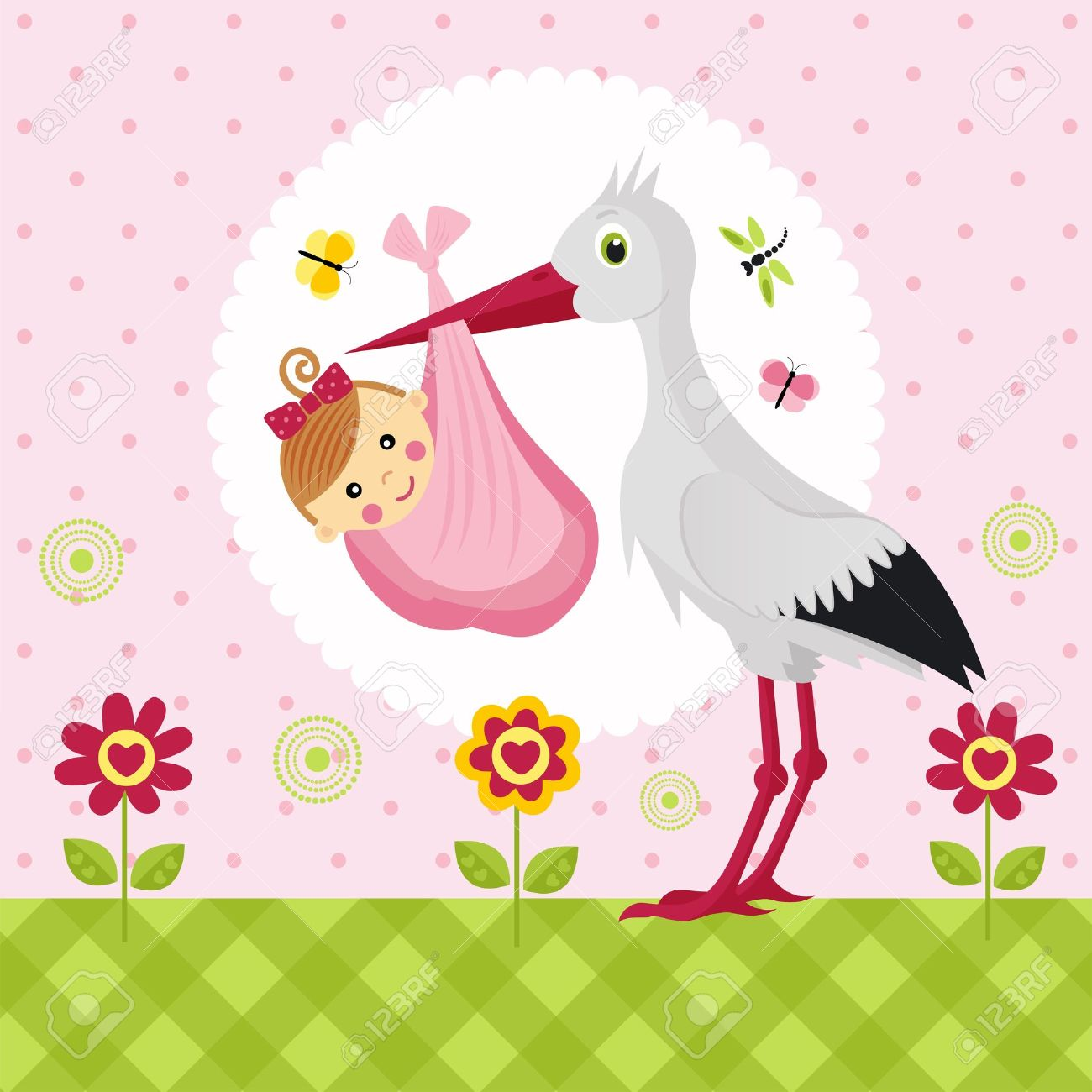 stork with a baby girl in a bag Standard-Bild - 15604824