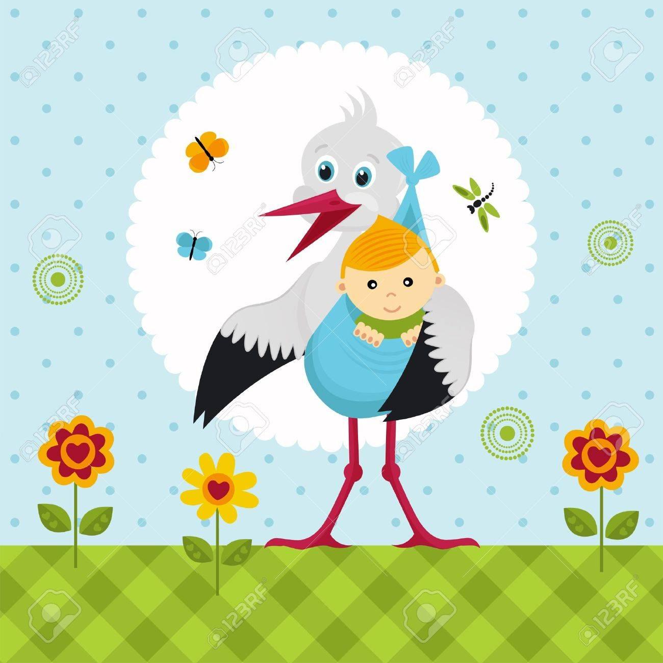 Storch mit einem Baby in einem Sack Standard-Bild - 15768457