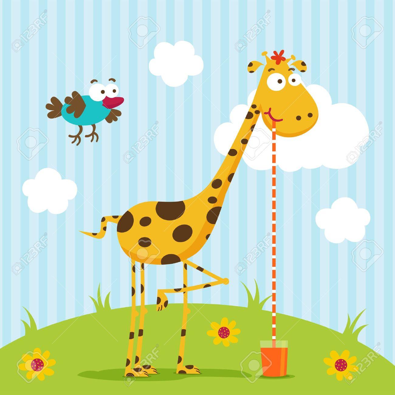 Giraffen und bird vector Standard-Bild - 16997280