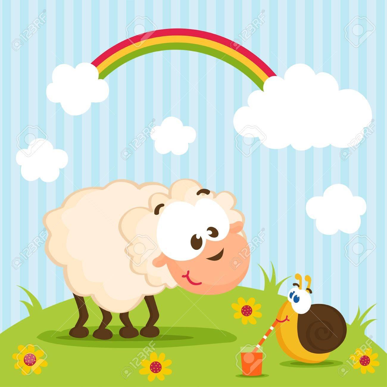 sheep and snail Standard-Bild - 17304352